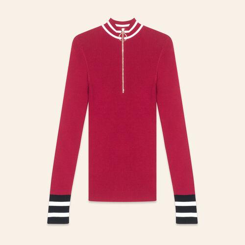 Pullover in maglia sottile con zip : Maglieria colore Bordeaux