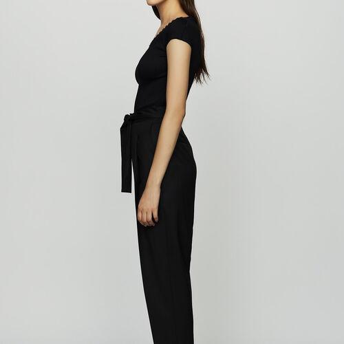 Pantaloni con pinces in lana vergine : Pantaloni colore Nero