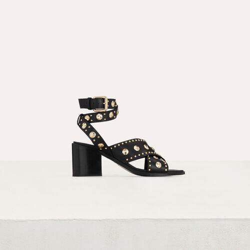 Sandali con tacco in pelle e borchie : Scarpe colore Nero