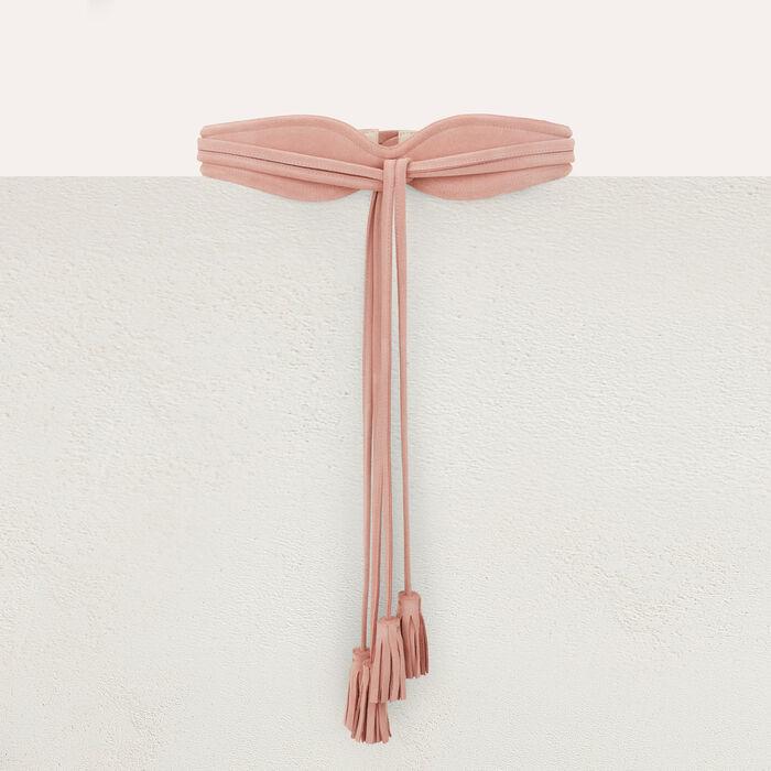 Cintura a vita alta ad annodare in suede : Cinture colore Rosa Tenue