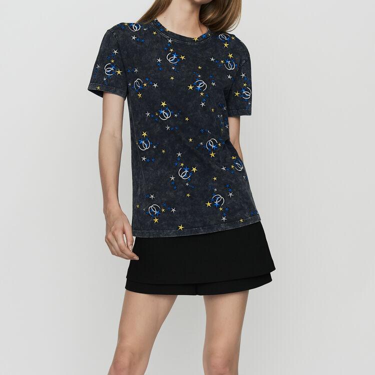 Tee-shirt in cotone delavè con ricami : Urban colore Grigio