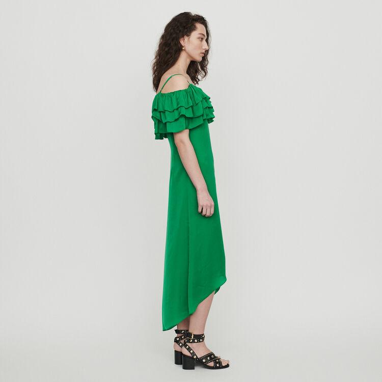 Vestito midi con picolle bretelle volant : Vestiti colore Verde