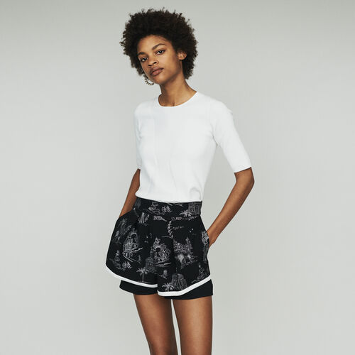 Short in crêpe ricamati : Gonne e shorts colore Nero
