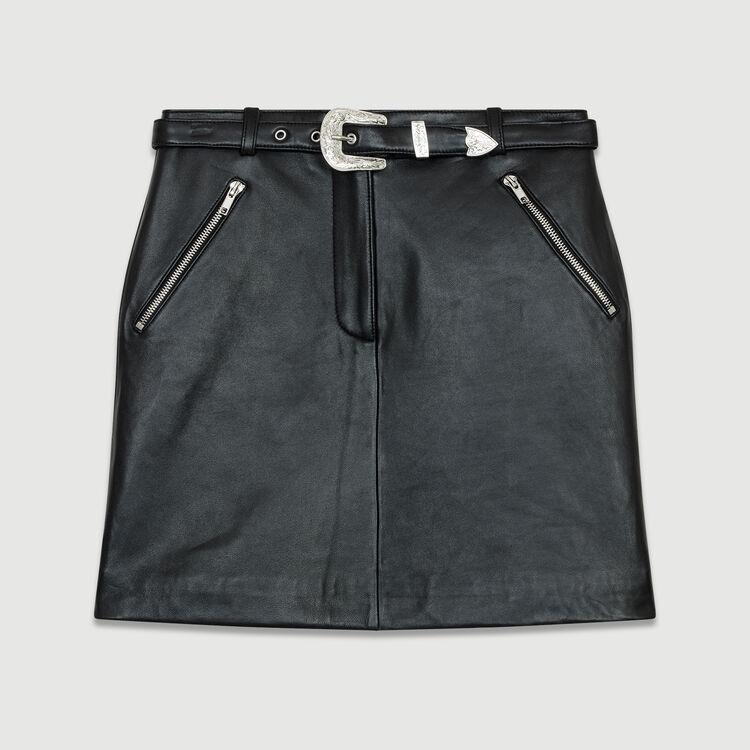 Gonna corta in pelle : Prêt-à-porter colore Nero