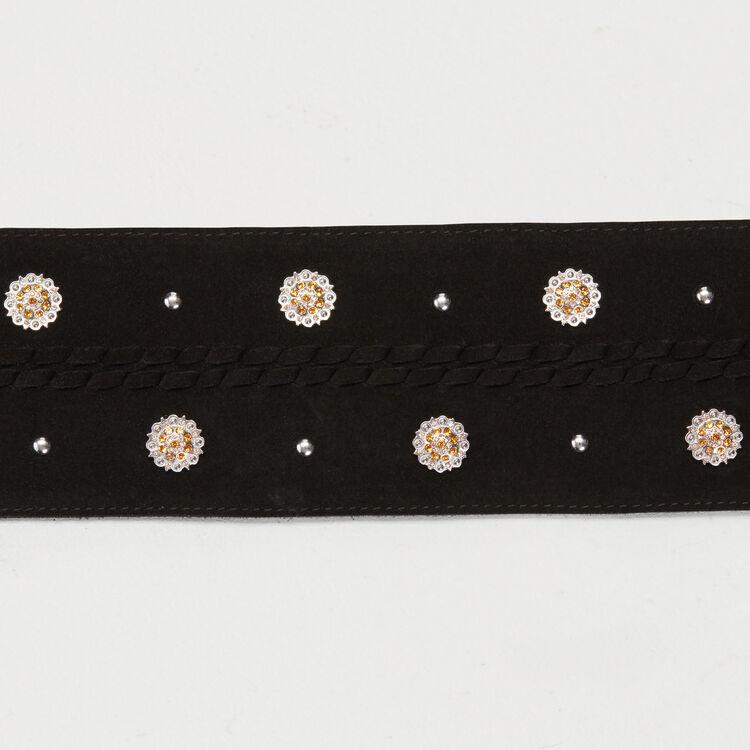 Cintura a vita alta in suede con pompom : Cinture colore Nero