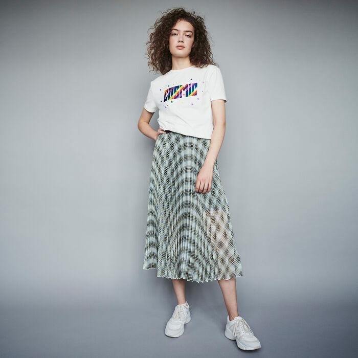 Gonna plissettata  a quadri in organza : Gonne e shorts colore Multicolore