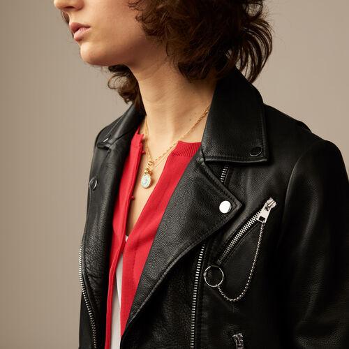 Giubbotto in pelle stile Biker : Giubbotti colore Nero
