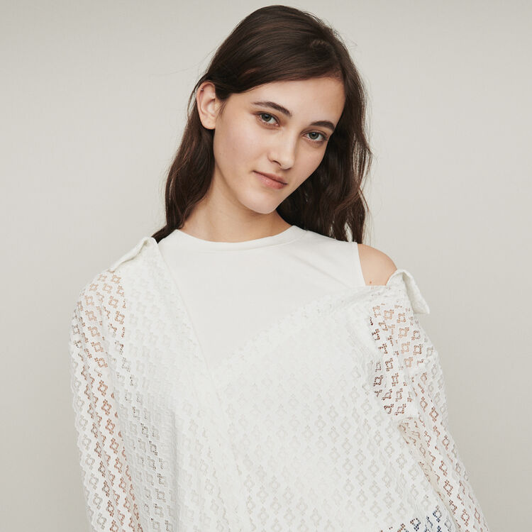 Camicia trompe-l'œil in pizzo gometrico : Tops e Camicie colore Bianco
