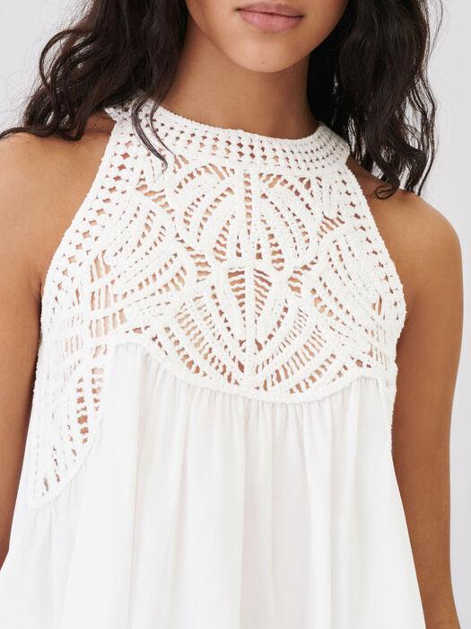 Top mix fluido e maglia stile macramé : Tops e Camicie colore Bianco