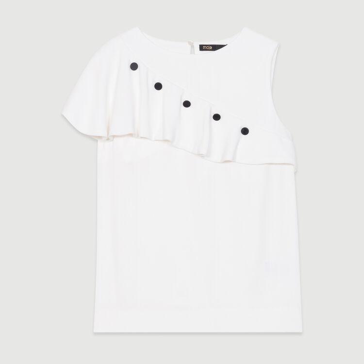 Top senza maniche con volant : Nuova Collezione colore Bianco