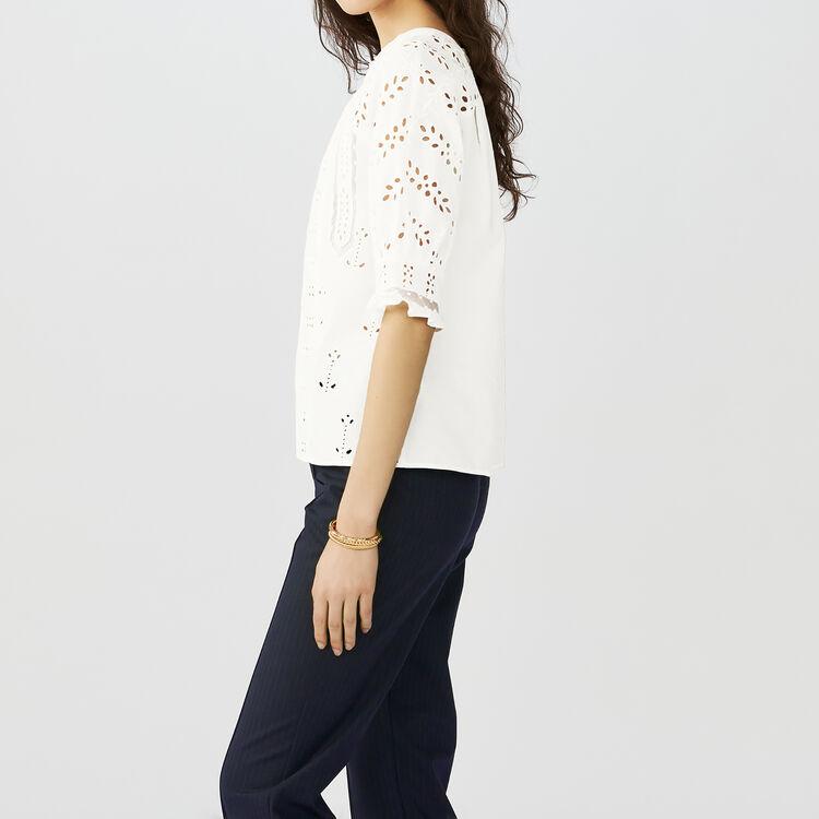 Top in cotone ricamato : Tops colore Bianco