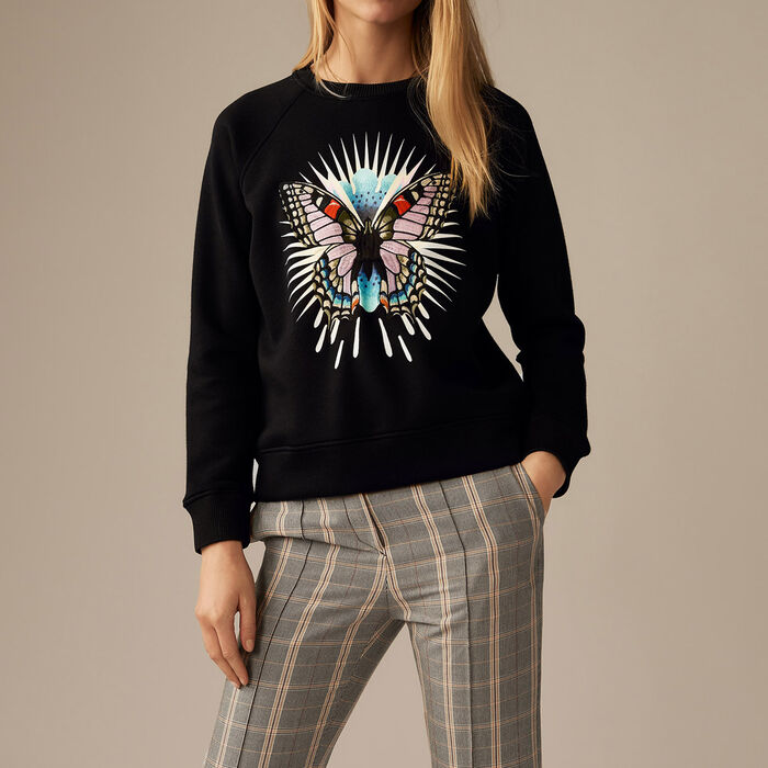 Felpa con farfalla ricamata : Sweatshirts colore Nero