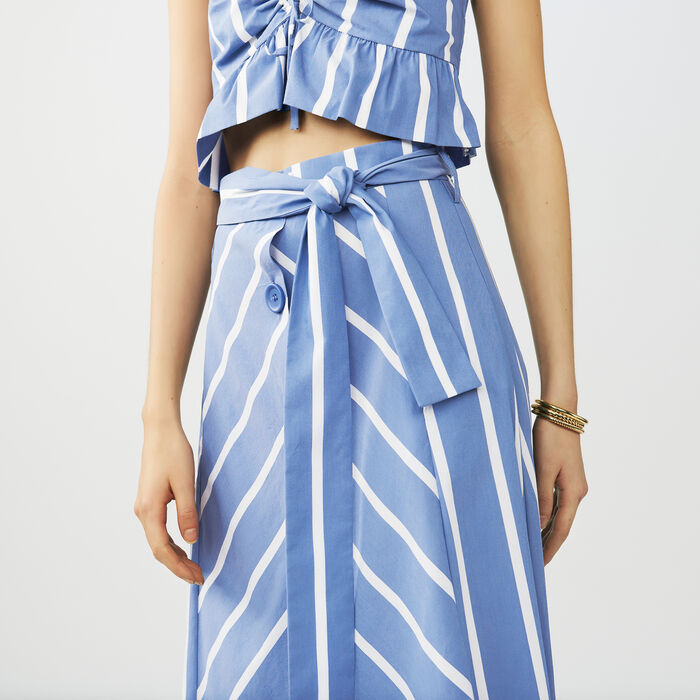 Gonna longuette con cintura e bottoni : Gonne e shorts colore Blu