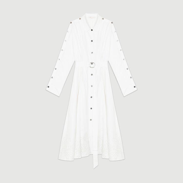 Scamiciato lungo con ricami all'inglese : Vestiti colore Bianco