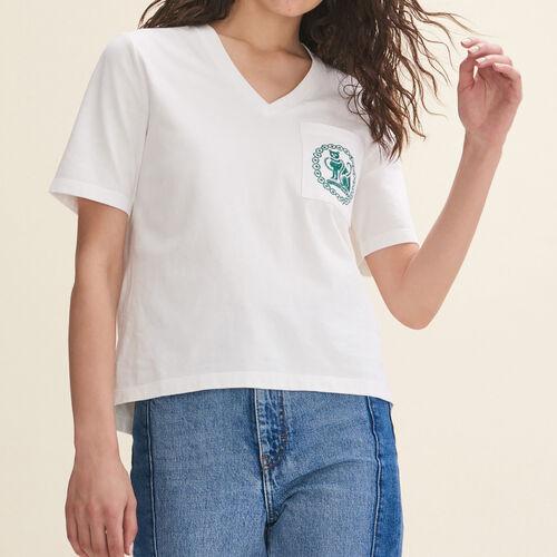 T-shirt in cotone con ricamo : T-shirts colore Ecru
