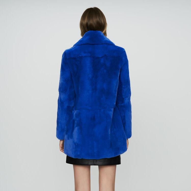 Cappotto corto in pelliccia : Cappotti colore Blu