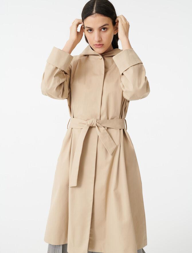 Cappotto-trench con cintura e cappuccio - Cappotti - MAJE