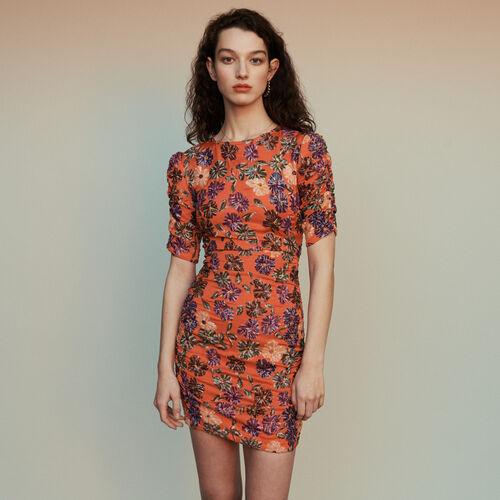 Vestito ricamato di paillettes : Vestiti colore Corallo