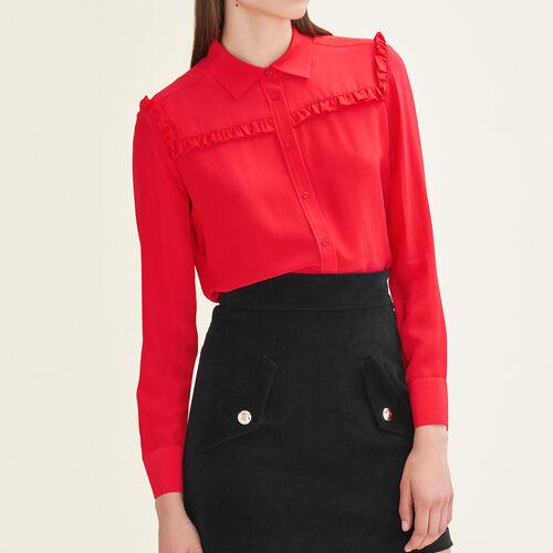 Camicia in seta con volant : Tops colore Rosso