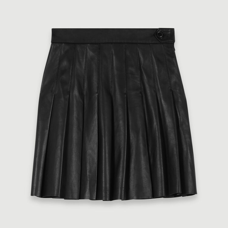 Gonna plissettata in pelle : Gonne e shorts colore Nero