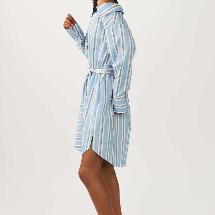 Scamiciato oversize a righe in cotone : Vestiti colore Ceruleo