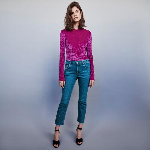 Jeans ricoperti di strass : Pantaloni e Jeans colore Blu