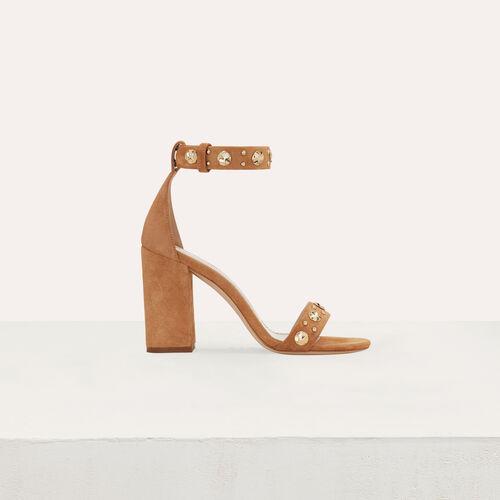 Sandali con tacco in suede : Scarpe colore Cammello