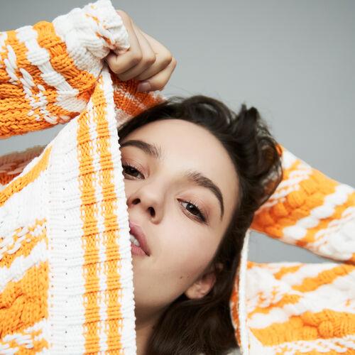Cardigan oversize in maglia bicolore : Maglieria colore Multicolore