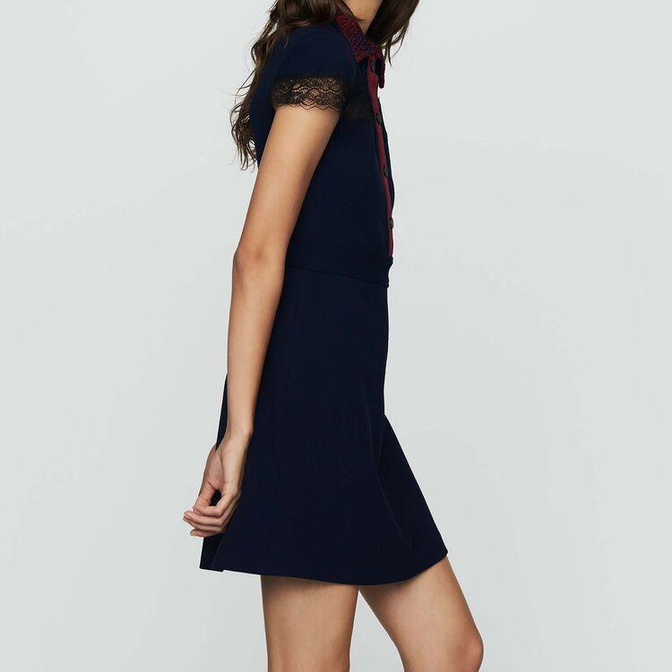 Scamiciato in crêpe e pizzo : Vestiti colore Blu Marino