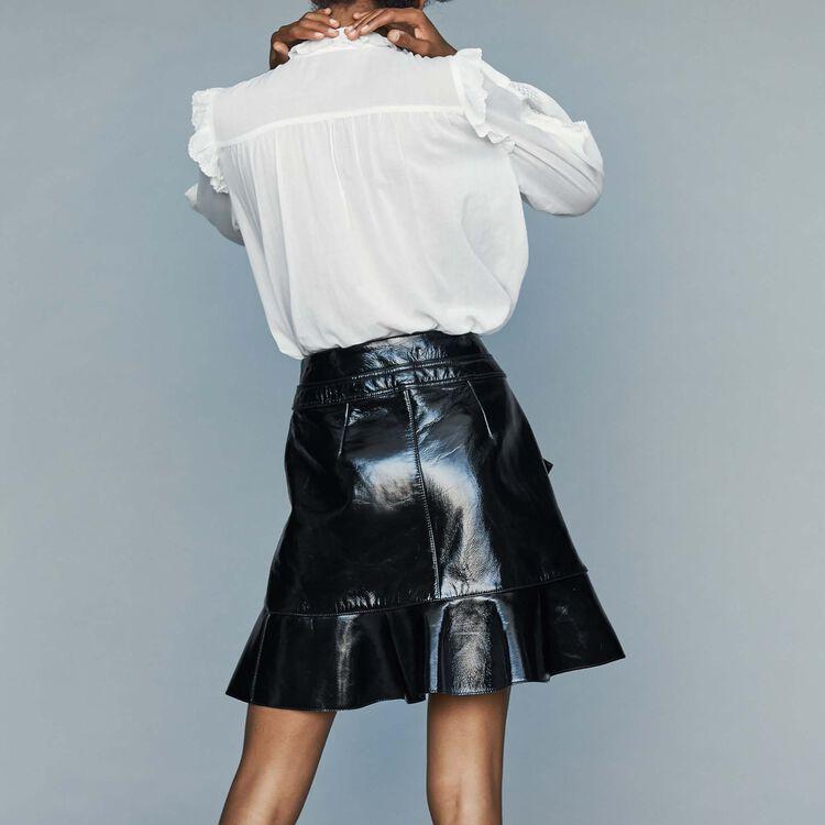 Camicetta in voile di cotone con pizzo : Camicie colore Bianco
