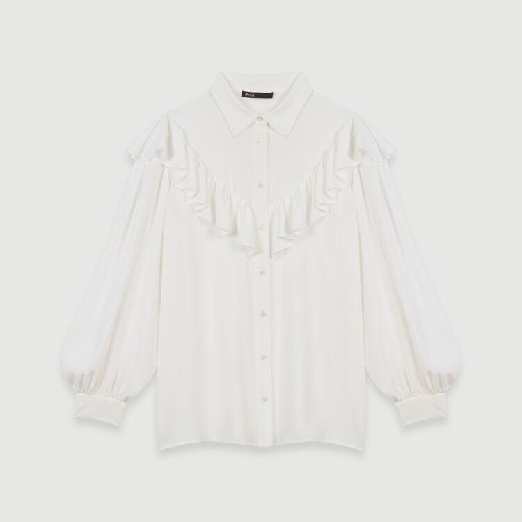 Camicia con volant : Tops e Camicie colore Bianco