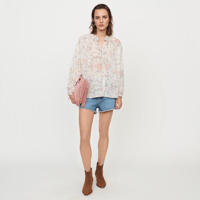 Camicia a fiori in voile di cotone : Tops e Camicie colore Rosa