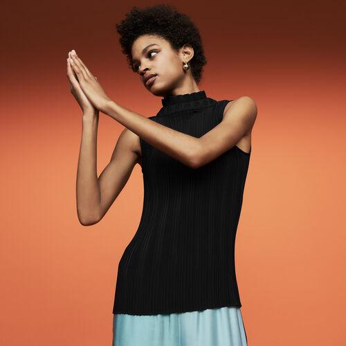 Top plissettato senza maniche : Prêt-à-porter colore Nero