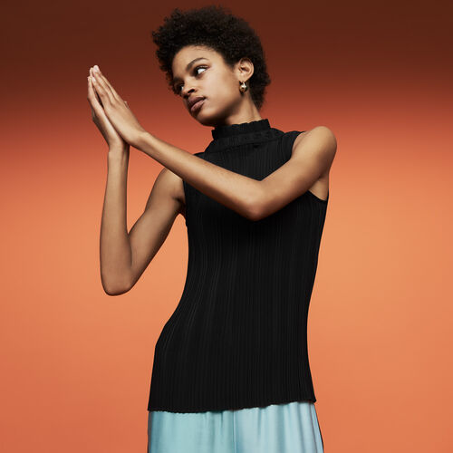 Top plissettato senza maniche : Tops e Camicie colore Nero