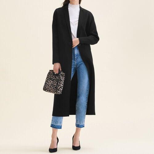 Cappotto lungo in lana double face : Cappotti colore Nero