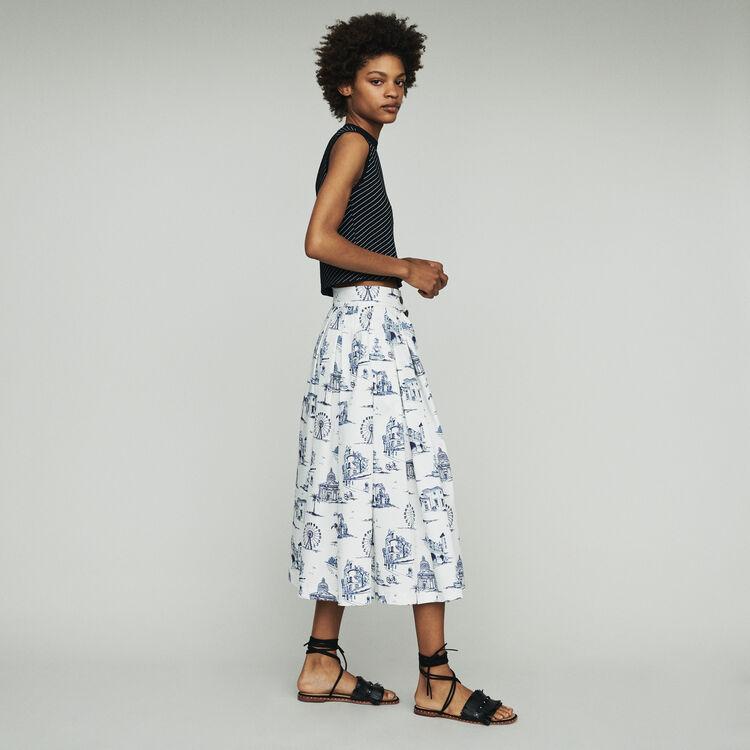 Gonna midi con stampa Parigi : Gonne e shorts colore Ecru