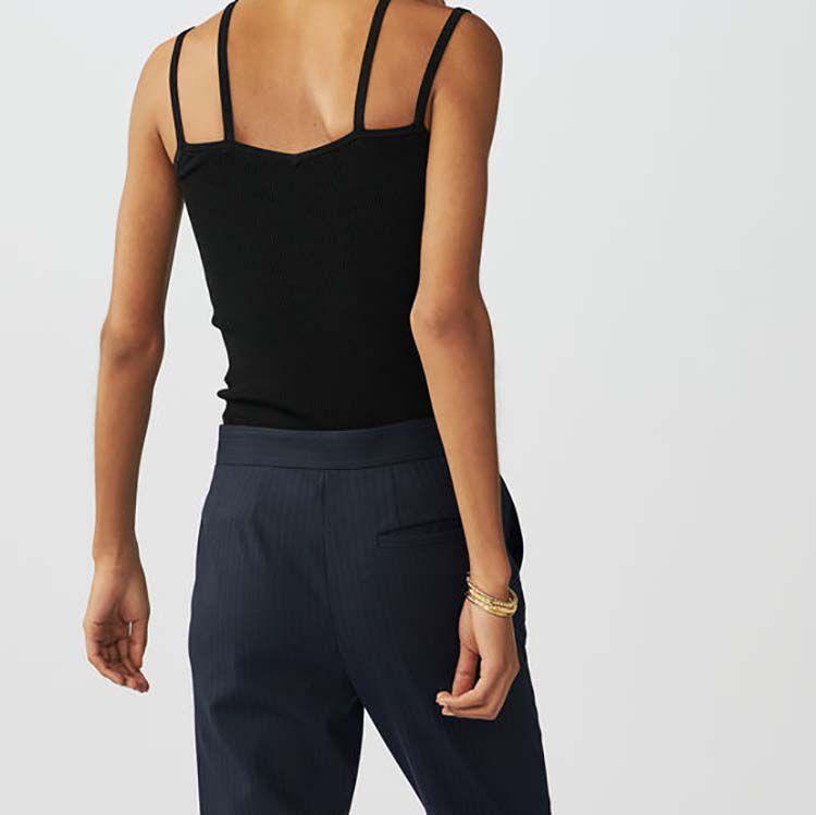 Top in maglia con bretelle incrociate : Maglieria colore Nero