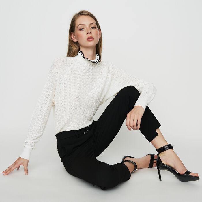 Pantalone dritto in crêpe : Pantaloni colore Nero