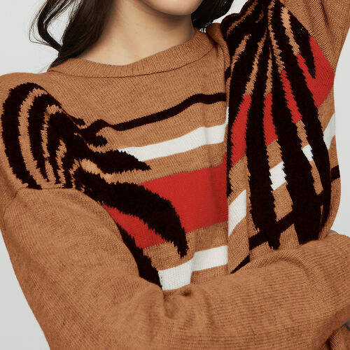 Pull a maniche lunghe in jacquard : Maglieria colore Cammello