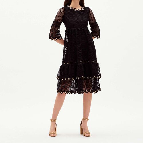 Long dress with eyelets in mesh : Vestiti colore Nero