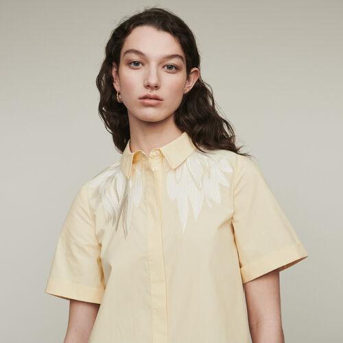 Camicia a maniche corte con ricamo : Camicie colore Giallo