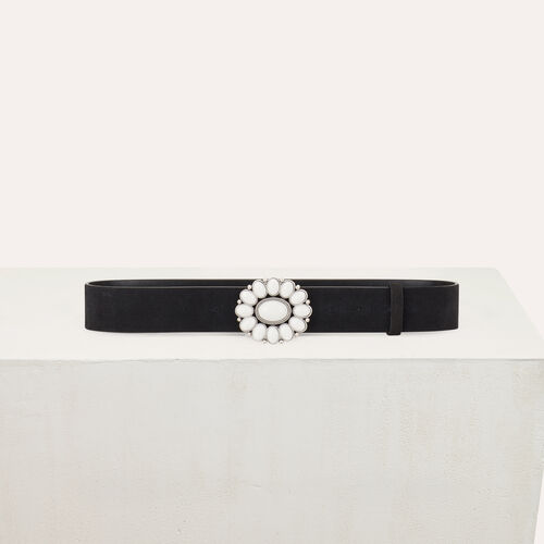 Cintura con fibbia fiore : Cinture colore Nero