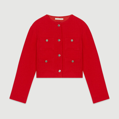 Giacca corta stile tweed : Giacche colore Rosso