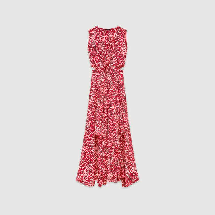 Vestito lungo in jacquard stampato : Vestiti colore Rosso