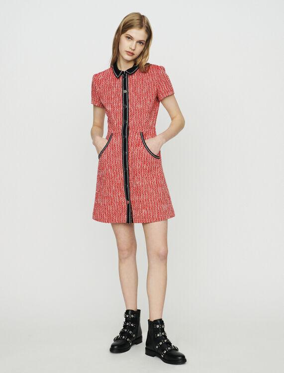 Vestito effetto tweed : Vestiti colore Rosso