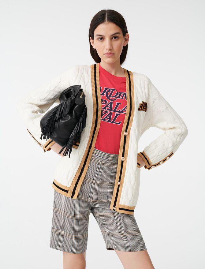 Cardigan a trecce con fasce a contrasto - Pullover e cardigan - MAJE
