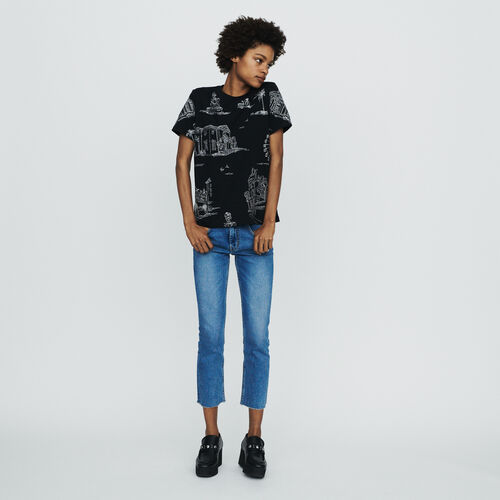Tee-shirt con ricami Parigi in all-over : T-Shirts colore NERO