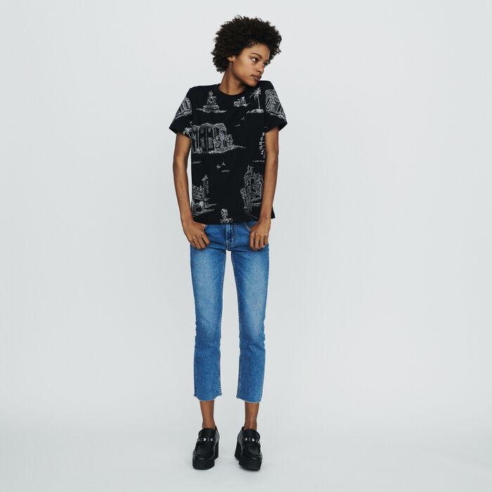 Tee-shirt con ricami Parigi in all-over : T-Shirts colore NERO