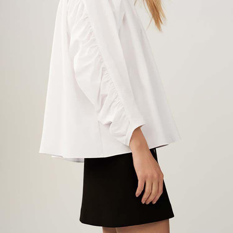 Camicetta oversize con increspature : Camicie colore Bianco