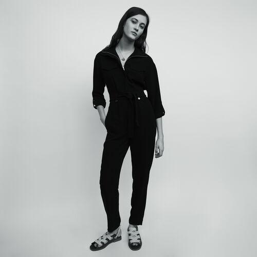 Tuta in crepe : Pantaloni colore Nero